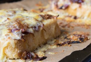 Cheese on toast with caramelised onions