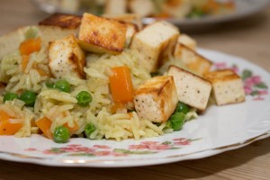 Pilaf with peas, carrots and paneer