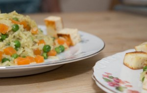 Pea carrot and paneer pilaf