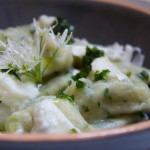 Wild Garlic Gnocchi served with wild garlic flowers