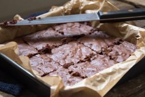 Gooey orange and hazelnut dark chocolate brownies