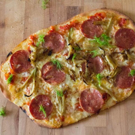 caramelised fennel and salami pizza
