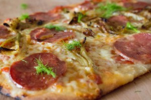 Salami and fennel on pizza