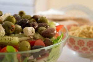 Greek Salad, Hummus and Pitta Bread - All That I'm Eating (1 of 2)