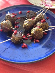 pistachio and turkey meatballs at Israeli pop-up dinner