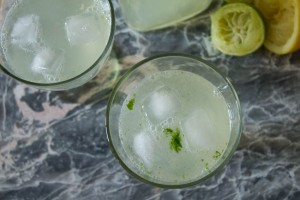 basil lime and lemonade in glasses