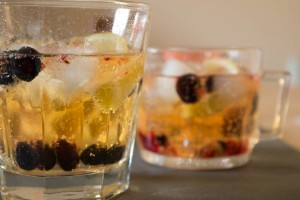 Elderflower Gin and Tonic with blackcurrants close up
