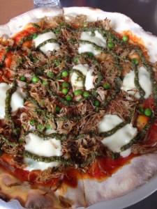 Lamb pizza at Baravin