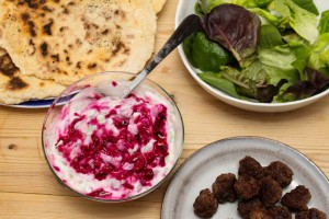 Beetroot Tzatziki with Quick Flatbreads and Beef Koftas - All That I'm Eating (2 of 2)