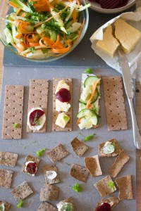 Smörgåsbord with salad, beetroot and Swedish style salad