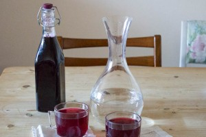 homemade blackcurrant cordial from frozen fruits