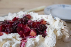 Blackberry and Pear Pavlova top