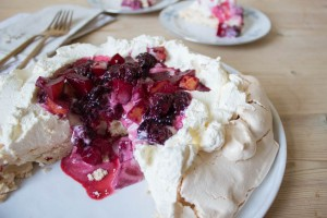 Blackberry and Pear Pavlova served up