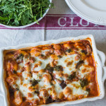 Aubergine, Butterbean, Pesto and Gnocchi Bake