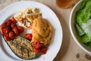 Baked Aubergine, Halloumi and Tomato Mashed Potato - All That I'm Eating