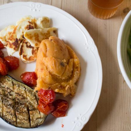 Baked Aubergine, Halloumi and Tomato Mashed Potato - All That I'm Eating