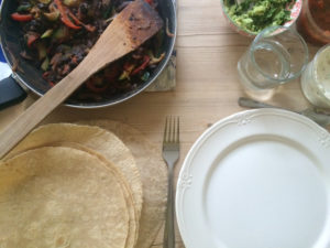 Veggie fajitas made with B free fajita kit