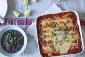 Chipotle Chicken Enchiladas with black beans