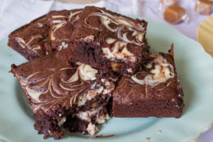 Chocolate Fudge Cheesecake Brownies - pile