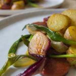 Chorizo Hash with Purple Spring Onions - close up