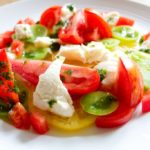 Heritage Tomato and Mozzarella Salad - close up