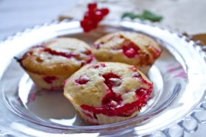 Redcurrant and White Chocolate Muffins - on plate