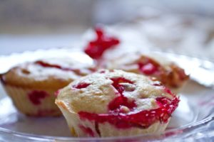 Redcurrant and White Chocolate Muffins - close up