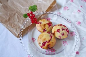 Redcurrant and White Chocolate Muffins - finished