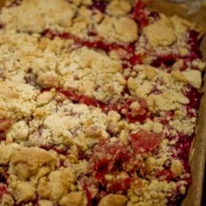 Rhubarb and Hazelnut Shortbread Crumble - baked
