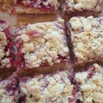 Rhubarb and Hazelnut Shortbread Crumble - finished and as squares