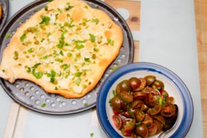 Wet Garlic Pizza Bread with Tiger Tomato Salad