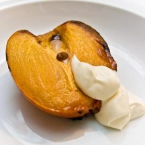 Honey Roasted Persimmon with creme fraiche