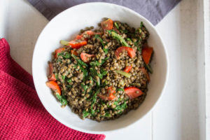Lentils, chard and tomatoes