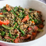 lentils and chard, close up