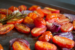 Balsamic Roasted Tomatoes and Onions with Rosemary