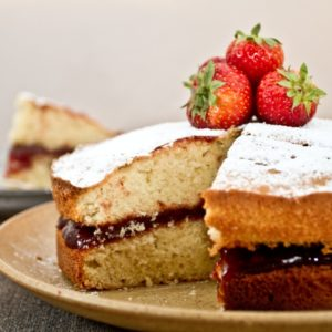 Victoria Sponge with Balsamic Strawberry Jam close up