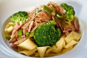 Wet Garlic and Bacon Pasta with Broccoli