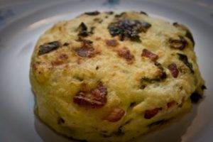 spring green and bacon potato cake