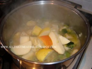 celeriac, apple and leek cooking