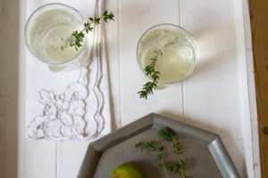 Quince Gin and Tonic with Lime and Thyme