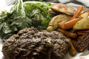 Venison burgers with chips and purple sprouting broccoli