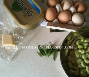 ingredients for broad bean omelette
