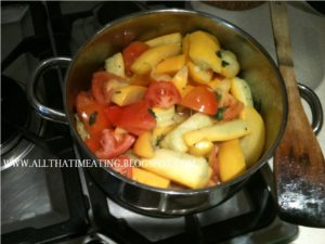 courgettes and tomatoes cooking