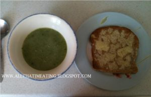 finished pea and lettuce soup with cheese on toast