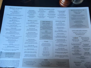 Browns Windsor menu