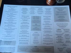 Browns Windsor menu