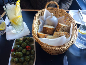 bread and olives at Browns