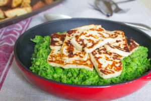 halloumi and mushy peas for vegetarian fish and chips