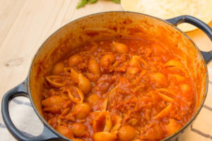 sausage and fennel ragu in the pan