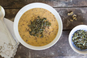 Sweet Potato and Corn Soup with Seed Topping
